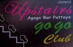 Upstairs A-GoGo sign