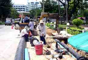 pattaya beach road works