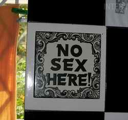 No Sex Here sign