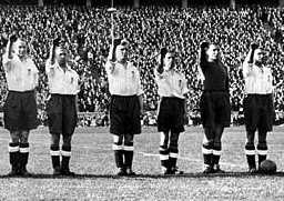 England footballers Nazi salute at the 1938 Berlin Olympics
