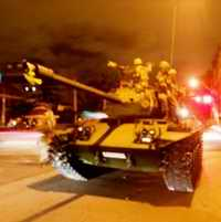 tanks in the streets suring the 2006 coup