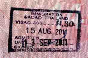 thai entry stamp